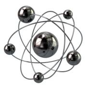 3d illustration of silver atom molecule icon